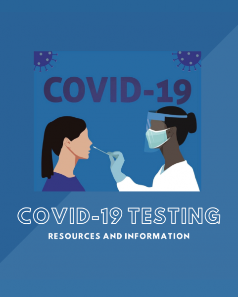 Graphic of medical professional testing patient, COVID-19 Testing