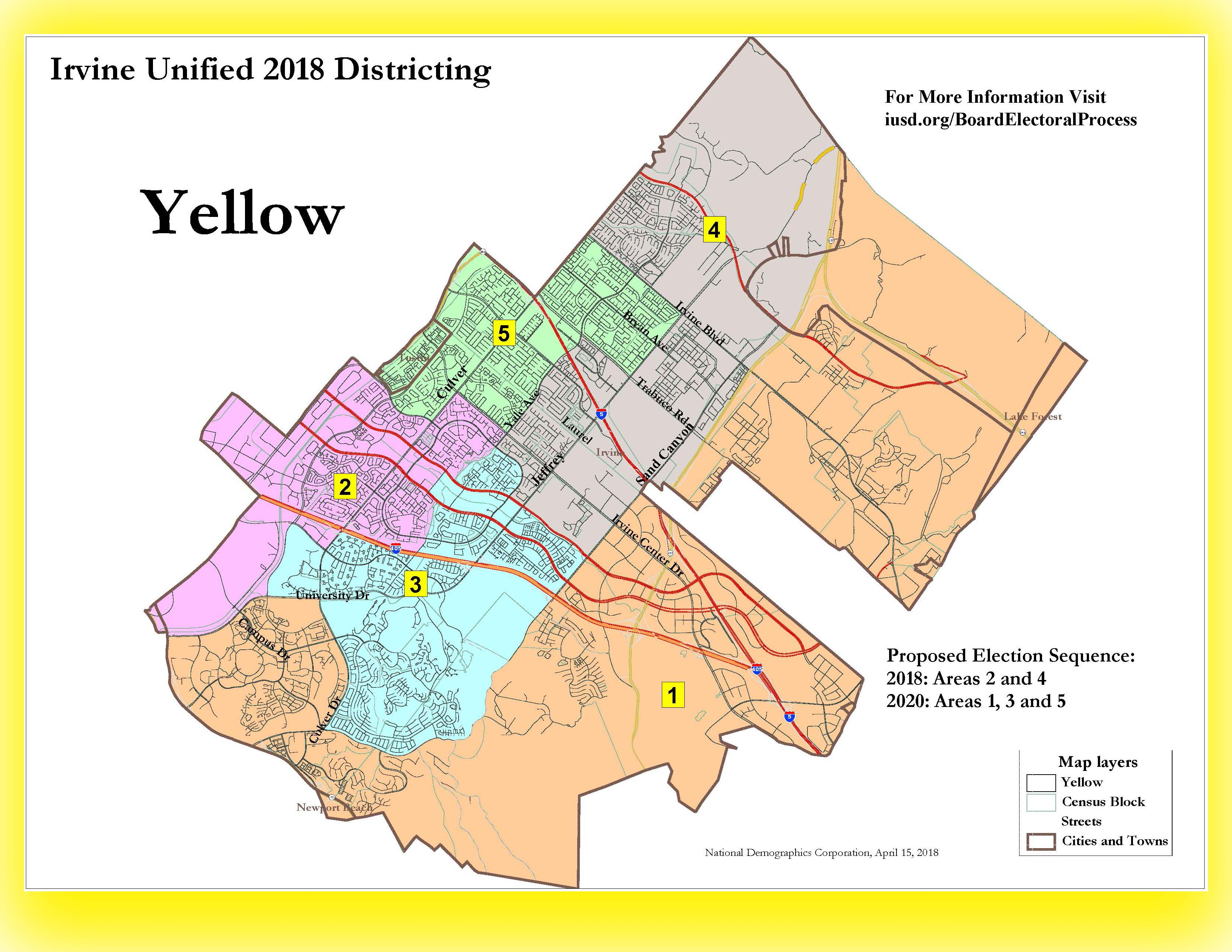 Yellow Trustee Area Map