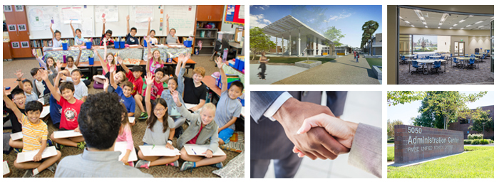 photo collage of students, new construction, and partnerships