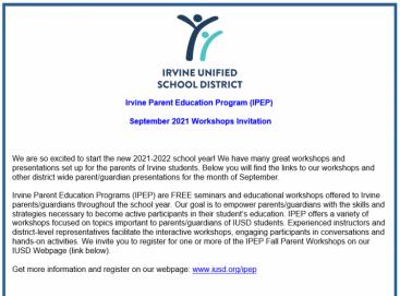 parent program letter