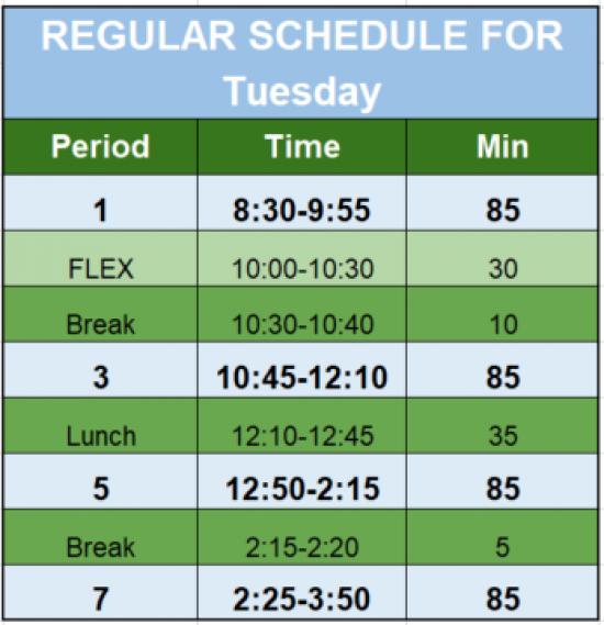 Tues Regular Schedule