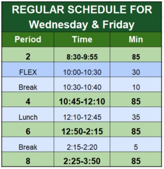 Wed/Fri Reg Schedule