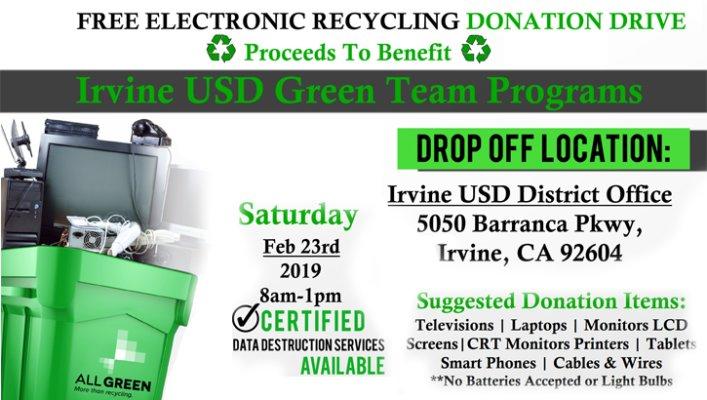 Free Electronics Recycling Donation Drive | IUSD org