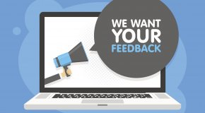 Image of computer asking for feedback