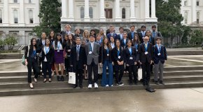 IUSD student of steps of the state capitol