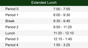 Extended Lunch Bell Schedule