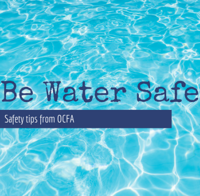 Image of a pool with Be Water Safe text