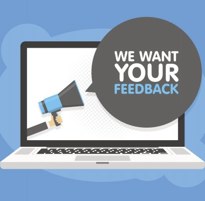 """Image of computer with caption, """"We want your feedback."""""""