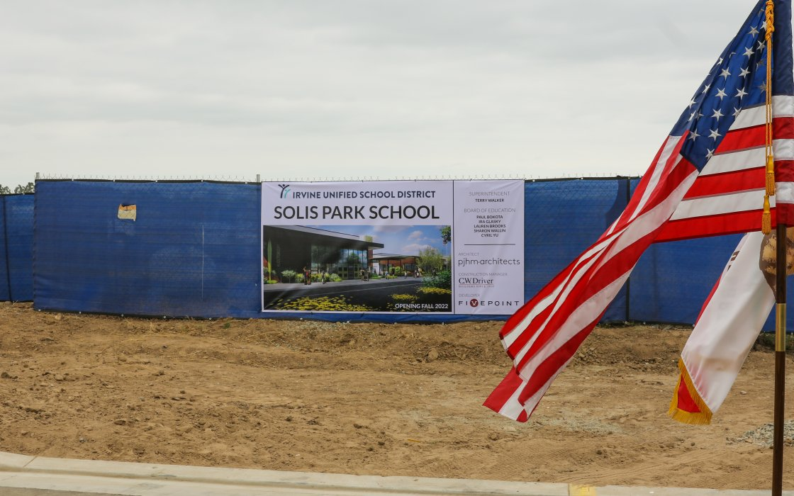 Sign of Solis Park Rendering with American Flag