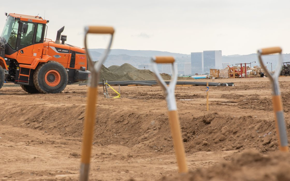 shovels in front of construction site