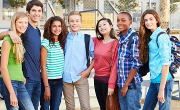 Students with backpacks outdoor