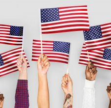 Hands with American Flags