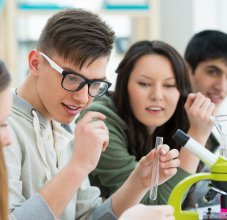 students in science class