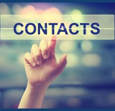 contacts sign with finger pointing