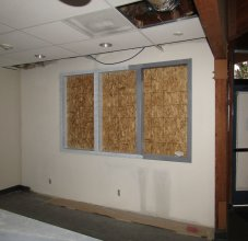 Front office window framing