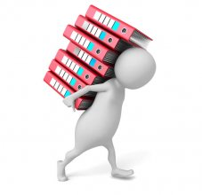 cartoon holding stack of books
