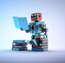 robot reading book