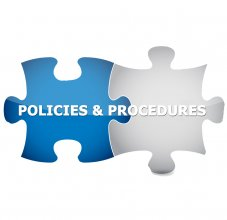 Puzzle pieces that read policies and procedures
