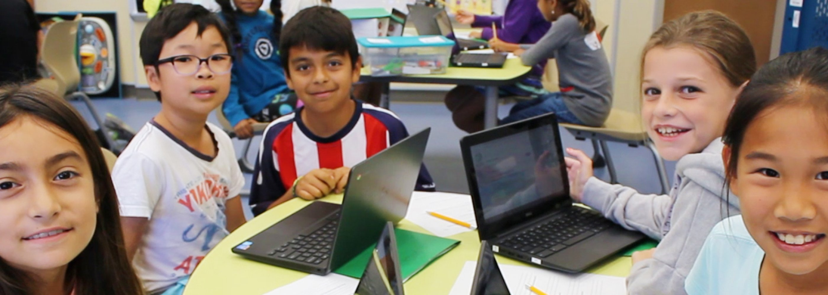 students on chromebook