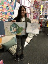 Raziell Reyes with her winning IUSD Earth Month poster