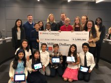 Irvine Company check presentation to IUSD Board and students