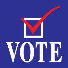 Vote and check mark graphic