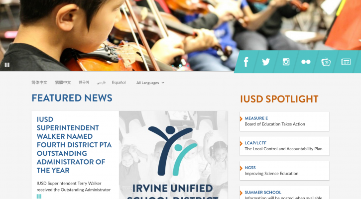 Image of the new IUSD website