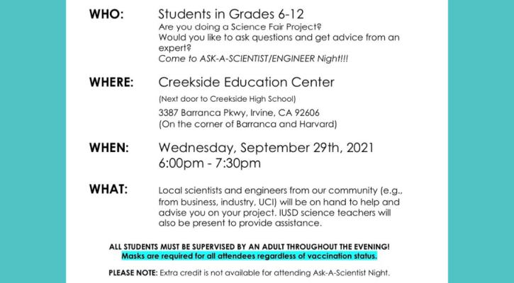 IUSD Ask A Scientist/Engineer Night Flier