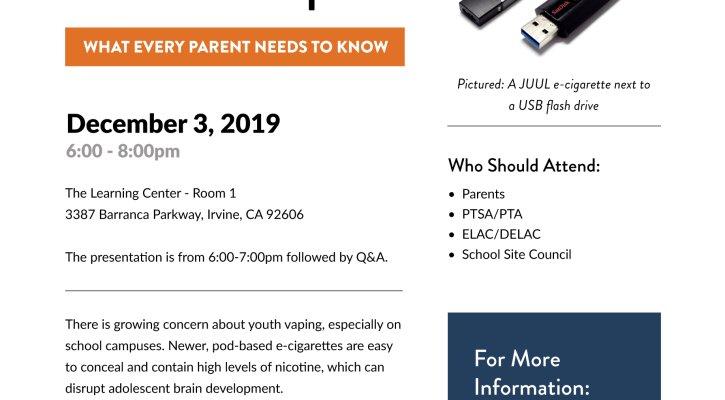 IUSD Vaping Prevention Flier