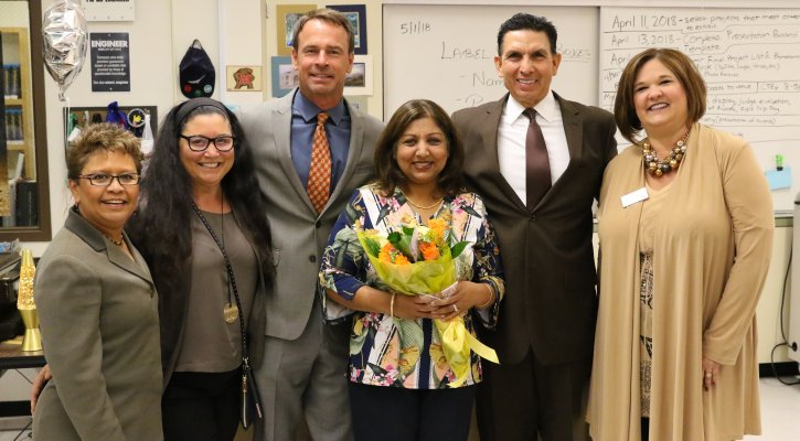Archana Jain joined by Principal Colunga, Board Member Brooks, Supt. Walker, Supt. Mijares, and Schools First Rep.