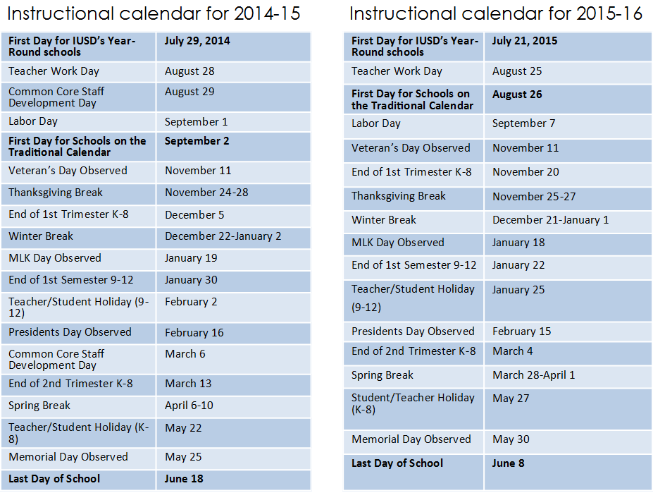Calendars For Iusds Year Round And Traditional Schedule Schoolsg